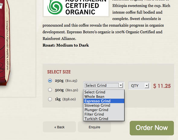 Custom options for a wide range of coffee formats